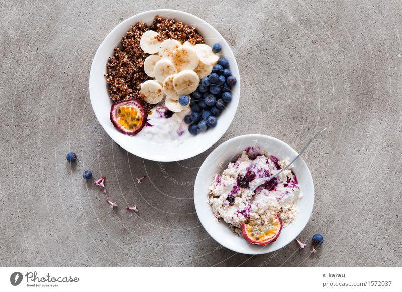 Healthy Eating Food Fruit Fresh Nutrition To enjoy Concrete Organic produce Breakfast Bowl Vegetarian diet Diet Snack Banana Blueberry