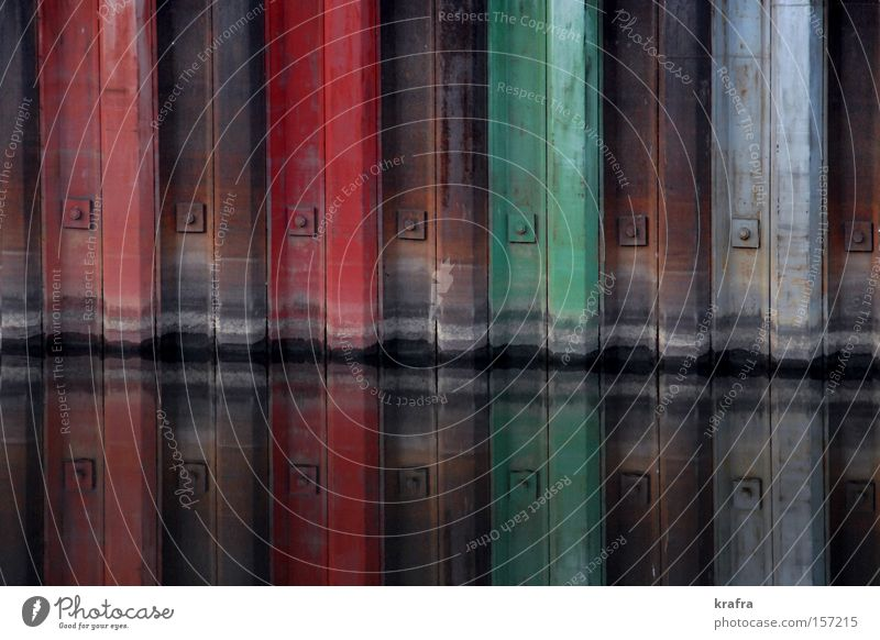 lock paints Floodgate Colour Water Mirror Multicoloured Red Green Harbour Iron Rust Brown Old Mirror image Regensburg Architecture