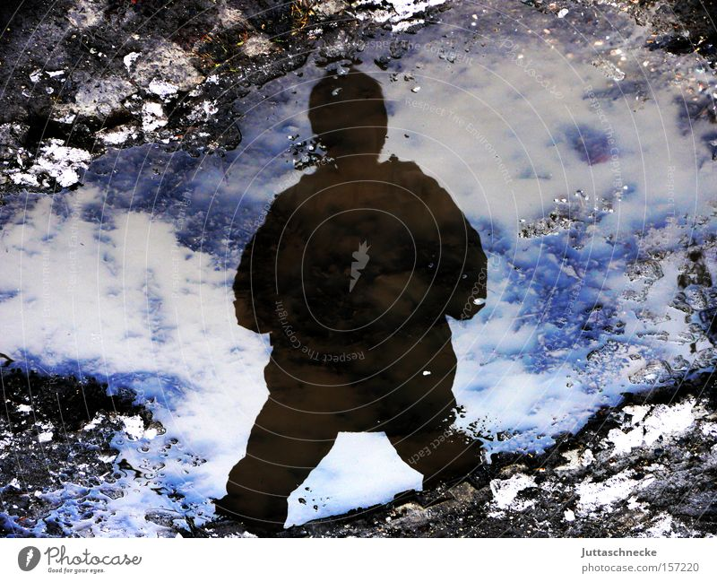 yeti Reflection Winter Cold Ice Snow Puddle Silhouette Shadow Frozen Freeze Human being Success Might Yeti Juttas snail