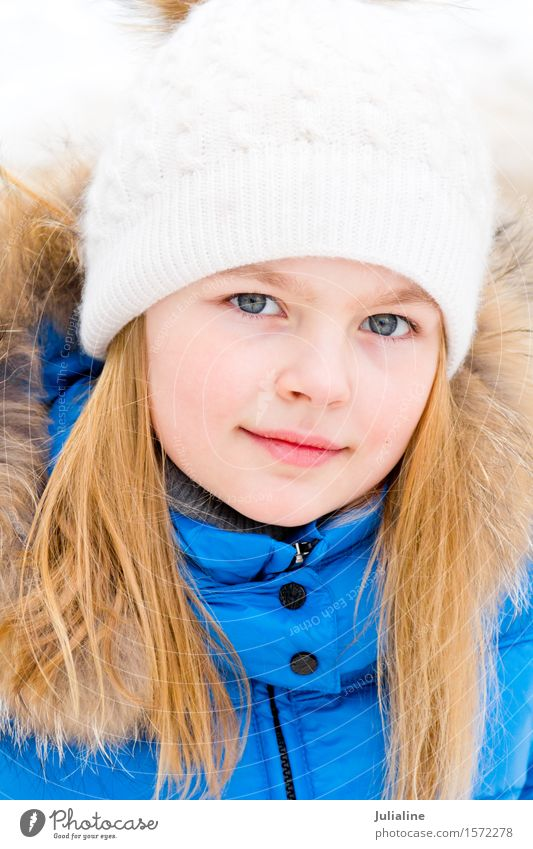 Cute girl with blue eyes in white hat Winter Child Girl Infancy 8 - 13 years Autumn Hat Blonde White kid five six 7 eight preschooler fall Caucasian European