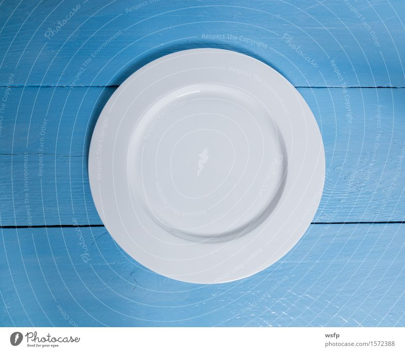 Empty plate on blue wood background Plate Restaurant Gastronomy Blue White Menu menu card Dish map Guesthouse Invitation Rustic sign Blackboard Copy Space