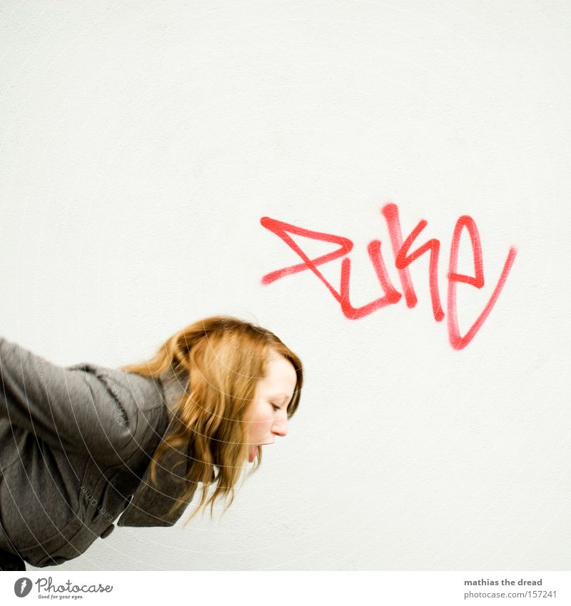 PUKE Vomiting Bad Illness Nausea Woman Beautiful Face Facade Plaster Gray Graffiti Mural painting hang-over
