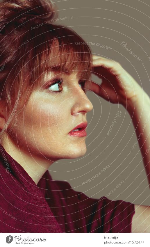 Profile of a young woman with forehead fringe and bun Style pretty Hair and hairstyles Skin Make-up Human being Feminine Young woman Youth (Young adults) Woman
