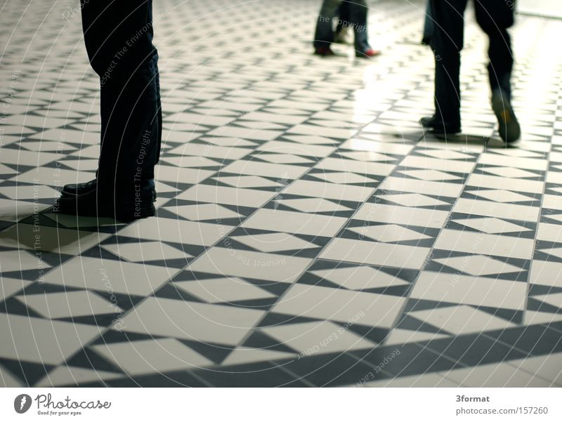 waiting hall Floor covering Ground Tile Mosaic Pattern Grid Legs Human being Wait Stand