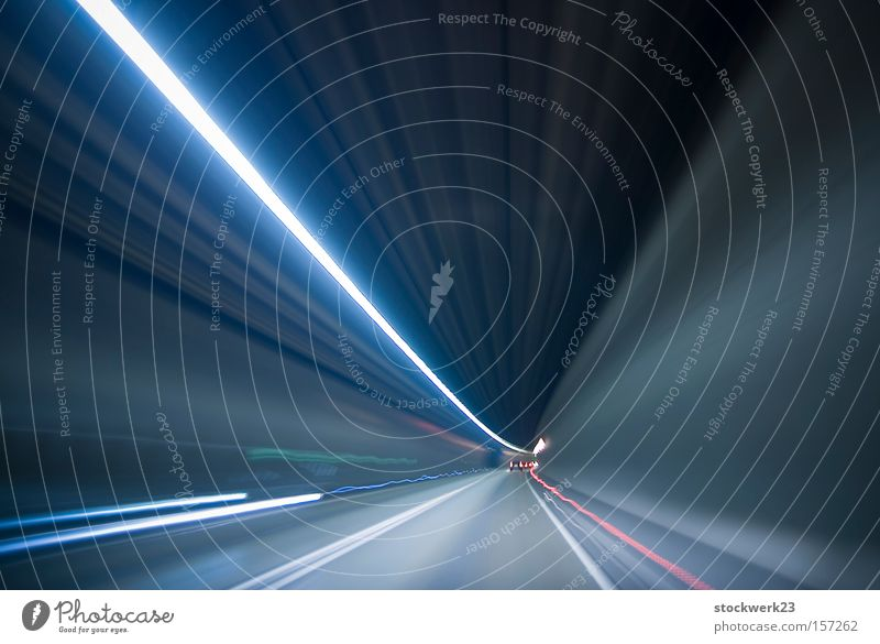 as if on light rails Light Tunnel Motor vehicle Vehicle Speed Speed of light Rear light Long exposure Underground Car