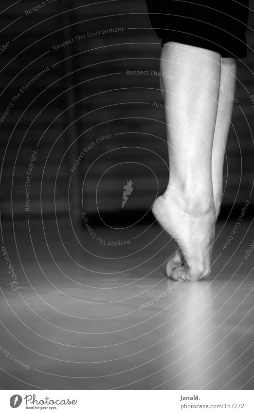 Woman Legs Feet Dance Stand Floor covering Black & white photo Dancer Balance Ballet Barefoot Stagnating Woman's leg Dexterity Articulated