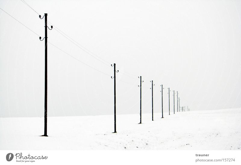 Lost in nowhere Black & white photo Exterior shot Deserted Twilight Contrast Winter Snow Cable Entertainment electronics Telecommunications Energy industry