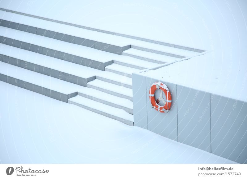 Staircase Havelauen with lifebelt Design Model-making Winter Snow Aquatics Winter sports Sporting Complex Architecture Small Town Deserted Wall (barrier)