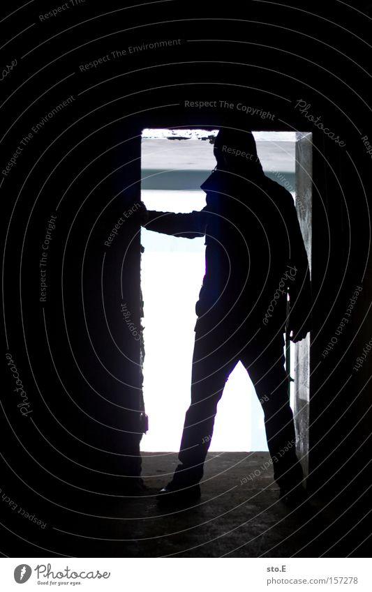 Human being White Black Loneliness Dark Fear Dirty Door Vantage point Observe Gate Derelict Shabby Panic Passage