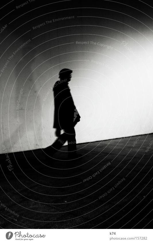 Human being Man Shadow Going Walking Upward Pedestrian Corridor