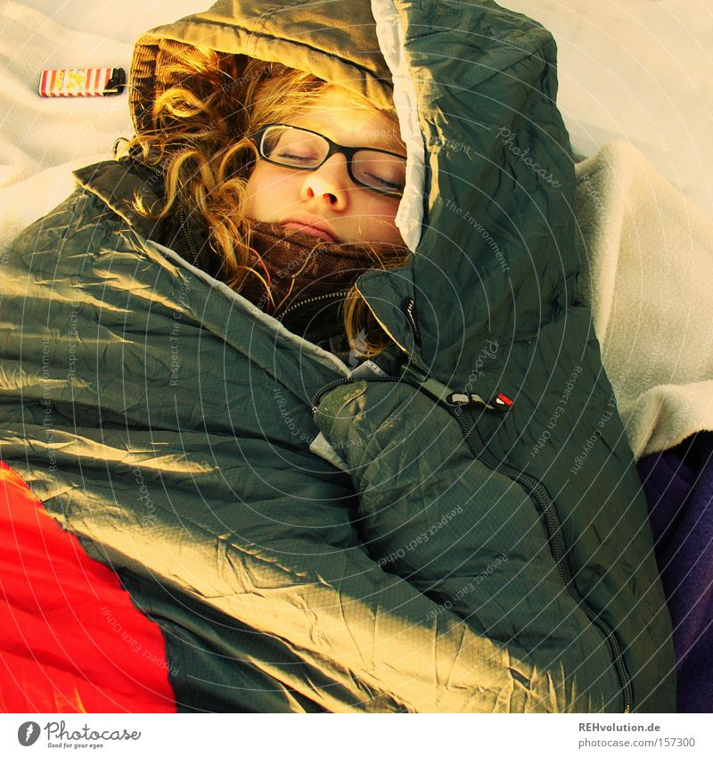 Human being Woman Calm Relaxation Cold Lie Sleep Peace Trust Camping Packaged Peaceful Sleeping bag