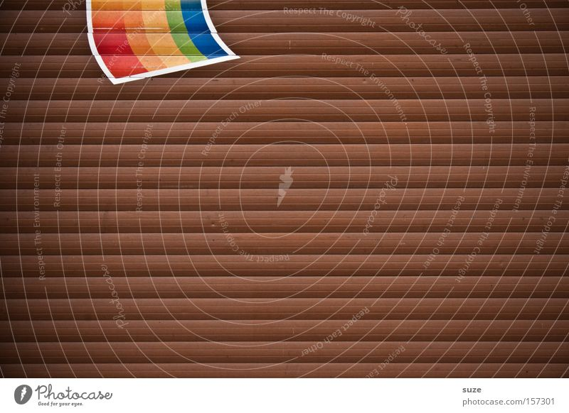 rainbow flag Homosexual Gate Wood Sign Signs and labeling Stripe Flag Brown Rainbow Wall (building) Disk Slat blinds Symbols and metaphors Meaning Garage