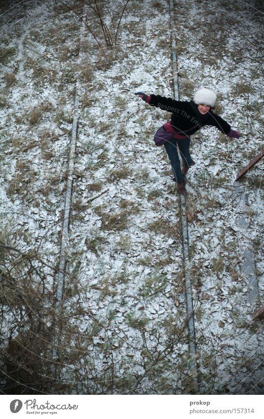 Woman Beautiful Winter Joy Leaf Meadow Cold Snow Grass Contentment Frost Railroad tracks Attractive Acrobatics Fur hat