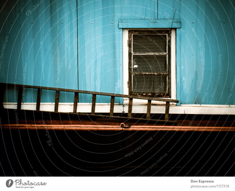 Blue Red Window Watercraft Door Simple Things Gate Entrance Still Life Ladder Way out Minimal Simplistic Houseboat
