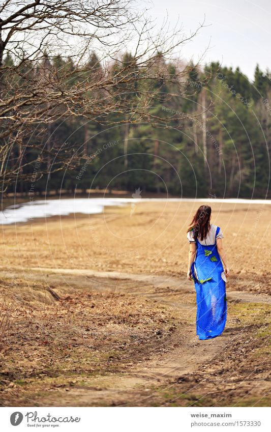 Young woman in spring countryside scenery Human being Woman Nature Vacation & Travel Youth (Young adults) Blue Green Beautiful Summer Young woman White Tree Landscape Leaf Joy 18 - 30 years