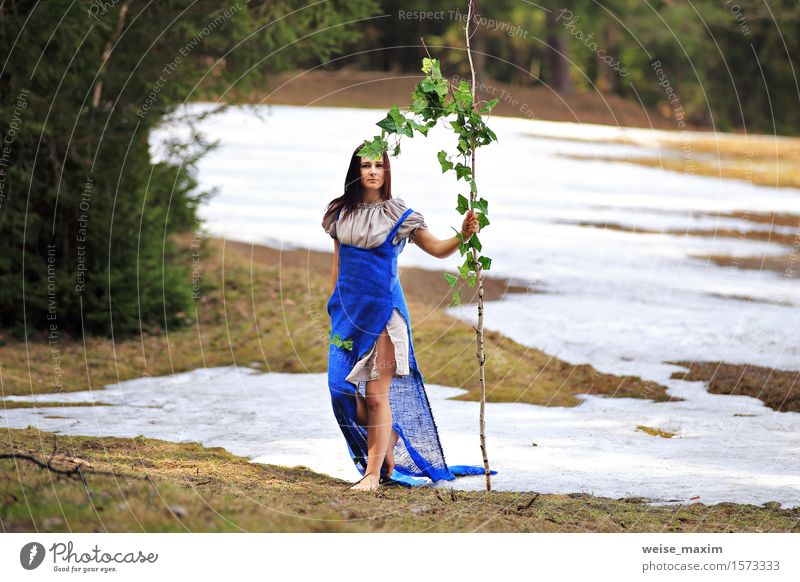 Young woman in spring countryside scenery Human being Woman Nature Youth (Young adults) Blue Green Beautiful White Tree Young man Landscape Leaf Joy