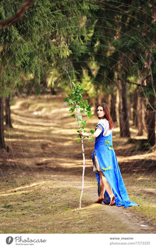 Young woman in spring countryside scenery Human being Woman Nature Vacation & Travel Youth (Young adults) Blue Green Beautiful Summer White Tree Landscape Leaf