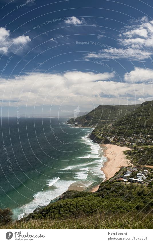 Stanwell Park from Lookout Vacation & Travel Tourism Far-off places Summer vacation Beach Ocean Environment Nature Landscape Sky Clouds Beautiful weather Waves
