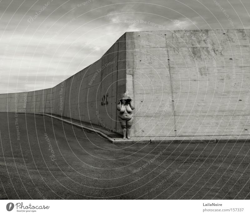 vastness Woman Wall (barrier) Places Gray Sky Far-off places Lamp Graffiti Derelict Black & white photo Rubens BBW