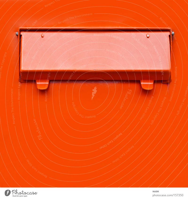 mailbox Mail Mailbox Metal Sharp-edged Simple Contact Slit Flap Anonymous Red Orange Gaudy love mail Love letter Date Colour photo Multicoloured Exterior shot