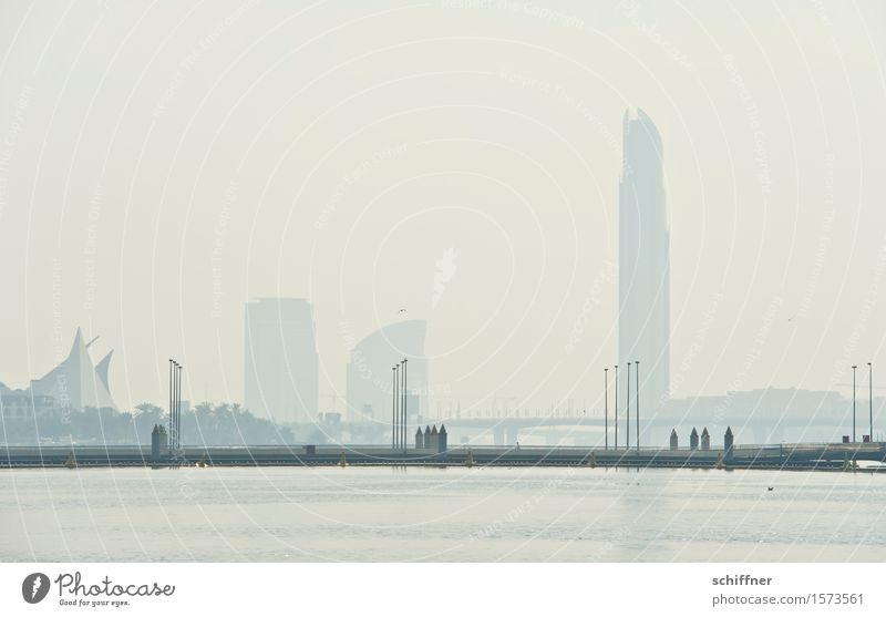fata morgana Town Capital city Skyline High-rise Bank building Exceptional Bridge Water Bay Dubai Desert Warmth Mirage Haze Far-off places Size Megalomania