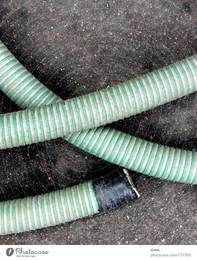 Green Work and employment Concrete Safety Asphalt Connection Craft (trade) Transmission lines Hose Striped Parallel Crossed Water hose Stone floor