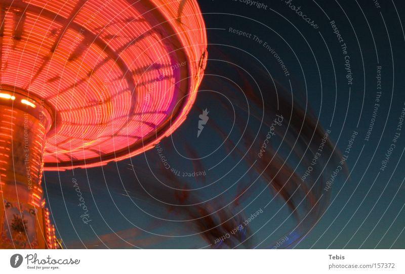merry-go-round Carousel Red Light Blue Movement Speed Gyroscope Oktoberfest blur Motion blur Fairs & Carnivals