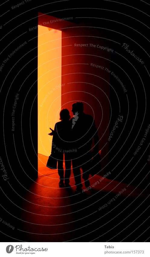 Coming From Hell Dark Man Woman Light Red Shadow Silhouette Human being Couple In pairs