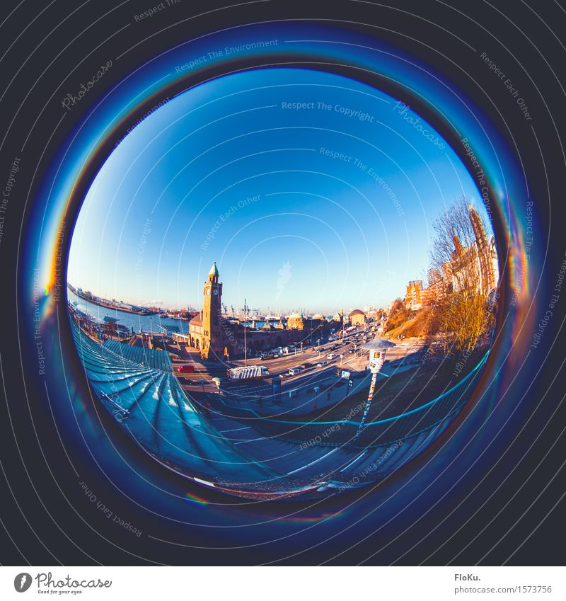 Fisheye from the North Tourism Sightseeing City trip River bank Hamburg Germany Town Port City Downtown Harbour Stairs Tourist Attraction Landmark