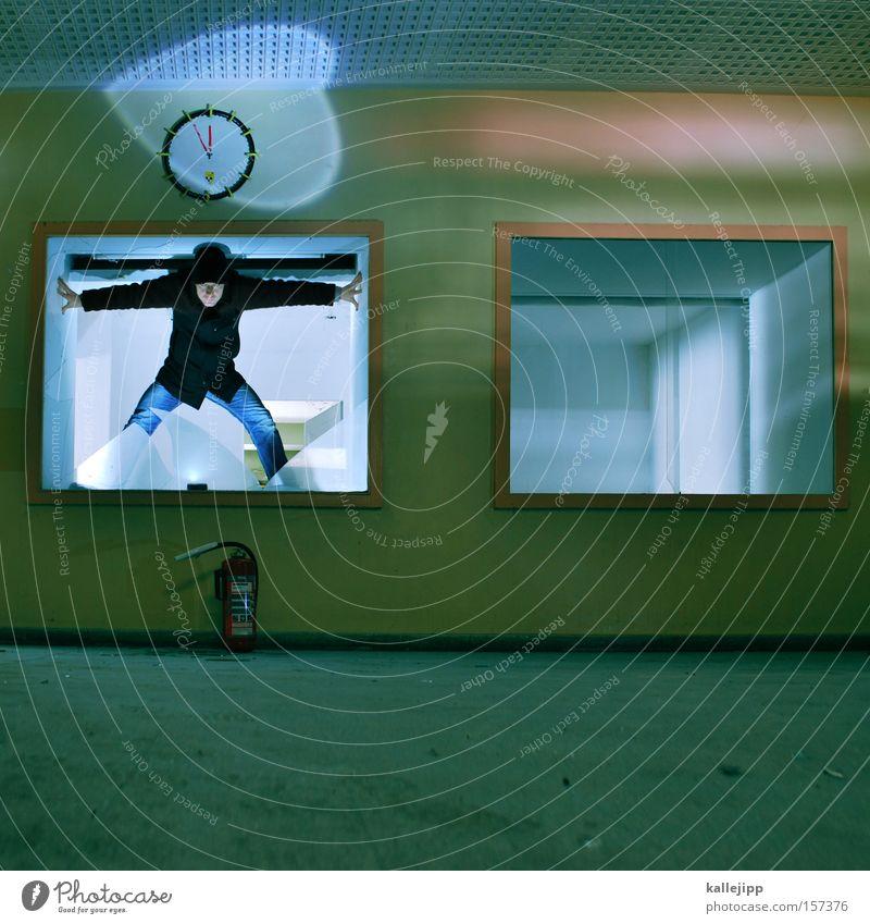 Human being Man Time Broken Clock Transience Window pane Disaster Stage lighting Fire prevention Stagnating Splinter Emergency Clock hand Extinguisher Clock face