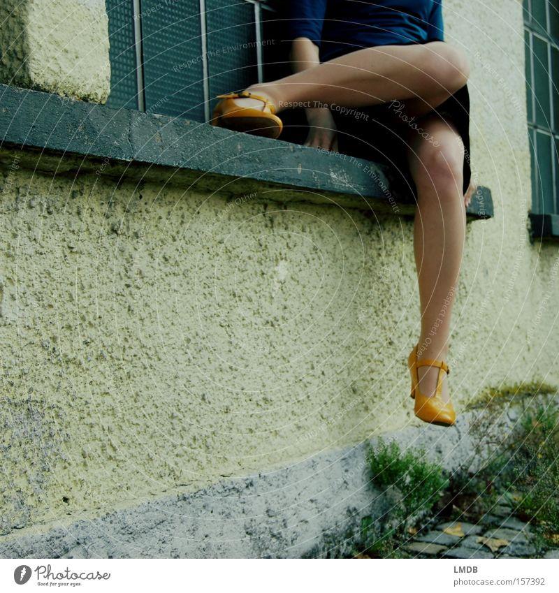 Woman Yellow Relaxation Street Legs Footwear Sit Wait Dress Paving stone Knee Headless