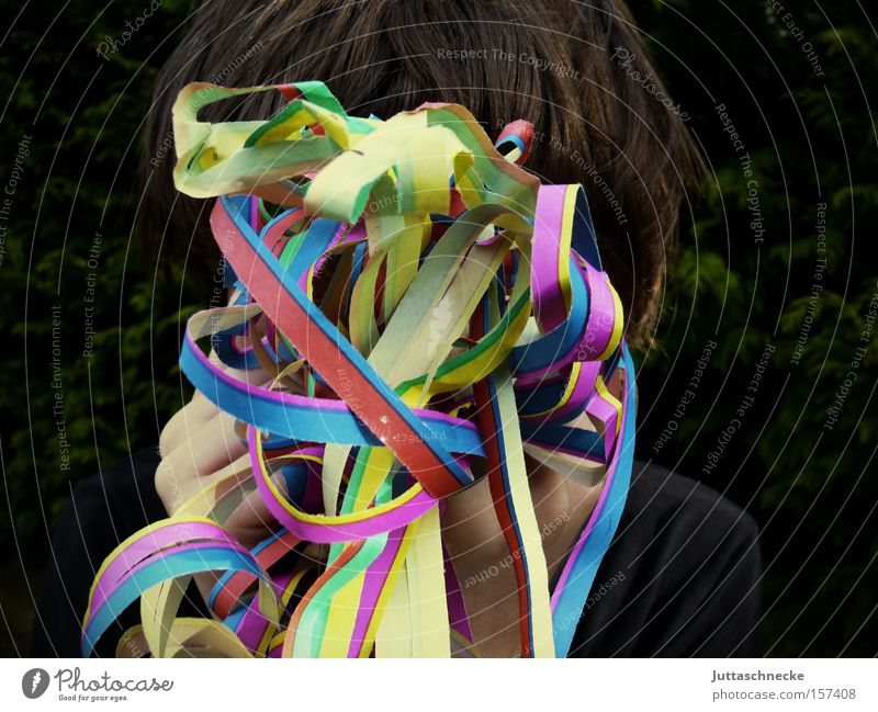I'm not here. Carnival Monday befor lent Paper chain Paper streamers Party Feasts & Celebrations Confetti Hide Birthday Party goer Party guest Exterior shot