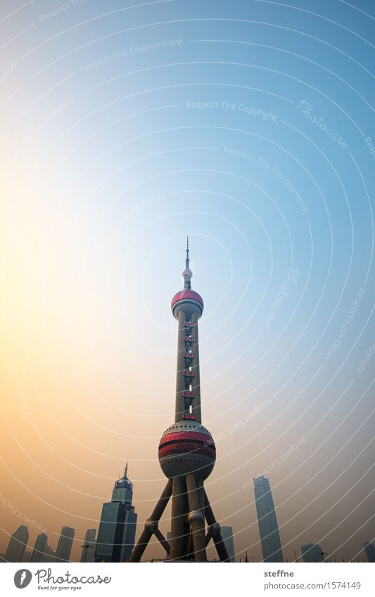 rocket Sunrise Sunset Sunlight Beautiful weather Shanghai China Downtown Skyline High-rise Landmark Exceptional Town Television tower Rocket Extraterrestrial