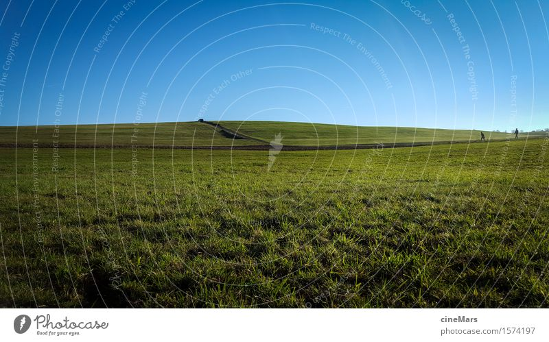 2 people in a wide meadow landscape Far-off places Hiking Human being Nature Landscape Cloudless sky Summer Beautiful weather Grass Meadow Hill Going Walking