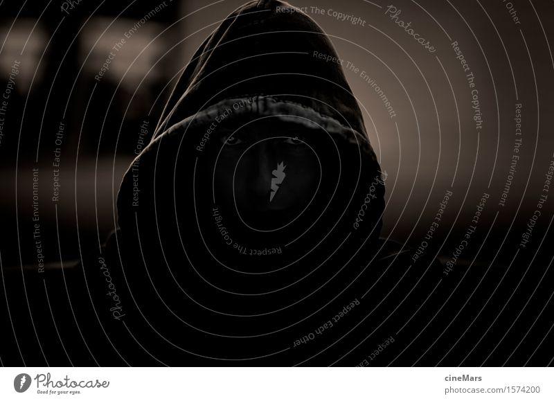 Beware of the Ninja Hallowe'en Masculine Man Adults Head 1 Human being Hooded (clothing) Observe Catch Glittering Wait Aggression Threat Dark Creepy Rebellious