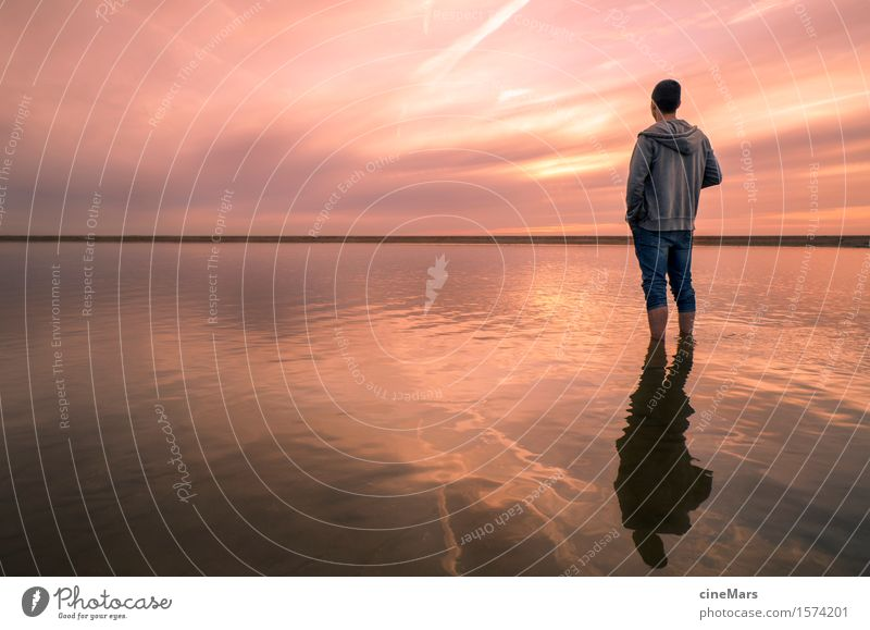 Human being Nature Youth (Young adults) Summer Young man Ocean Relaxation Calm Far-off places Beach Think Orange Masculine Illuminate Dream Waves