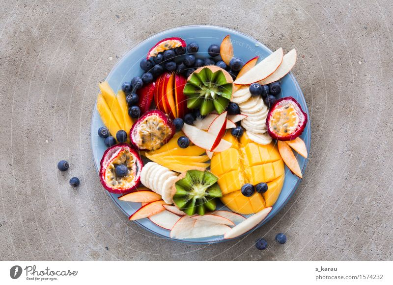 Healthy Eating Food Fruit Fresh Nutrition To enjoy Concrete Sweet Organic produce Apple Exotic Plate Vegetarian diet Diet Banana