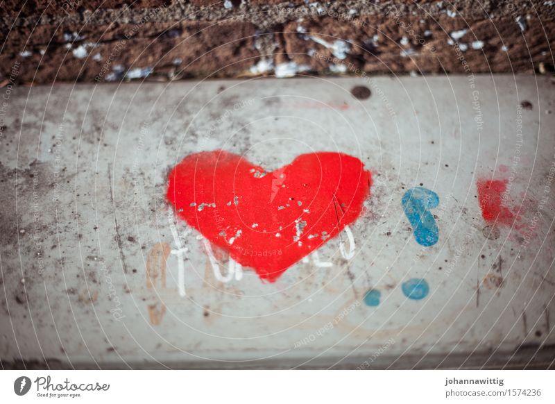 Beautiful Red Street Love Graffiti Lanes & trails Wall (barrier) Art Gray Stone Wild Heart Gift Sign Friendliness Wedding