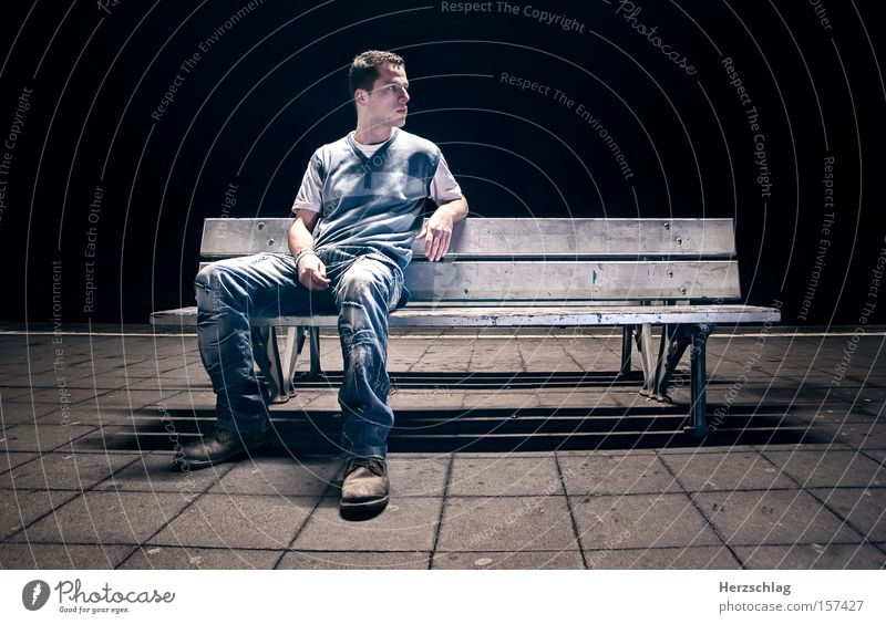 night scene Bench Night Scene Cold Dark Human being Character Blue Loneliness Wait Light Concrete Sit Boredom Train station db