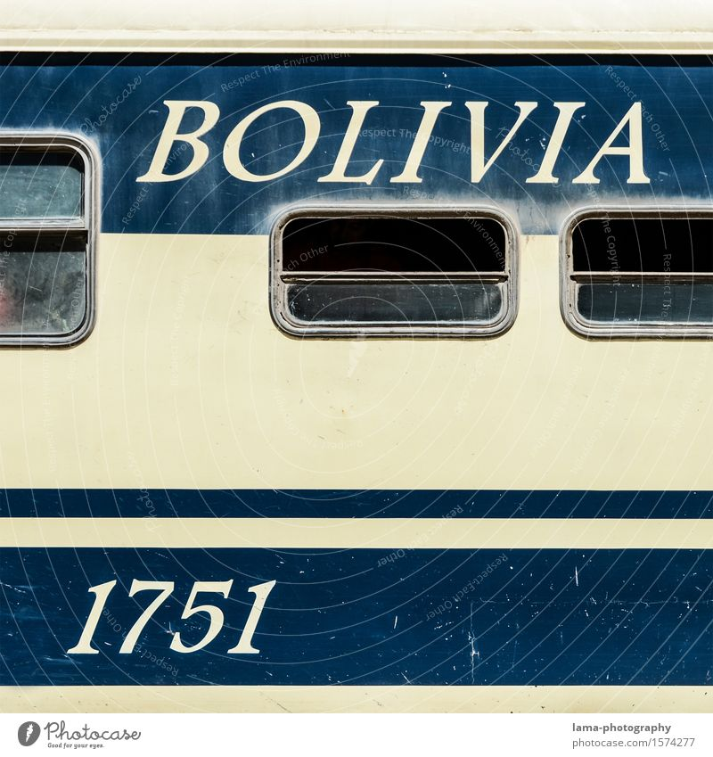Vacation & Travel Blue Tourism Characters Trip Railroad Digits and numbers Graphic Typography South America Train travel Bolivia Passenger train Railroad car