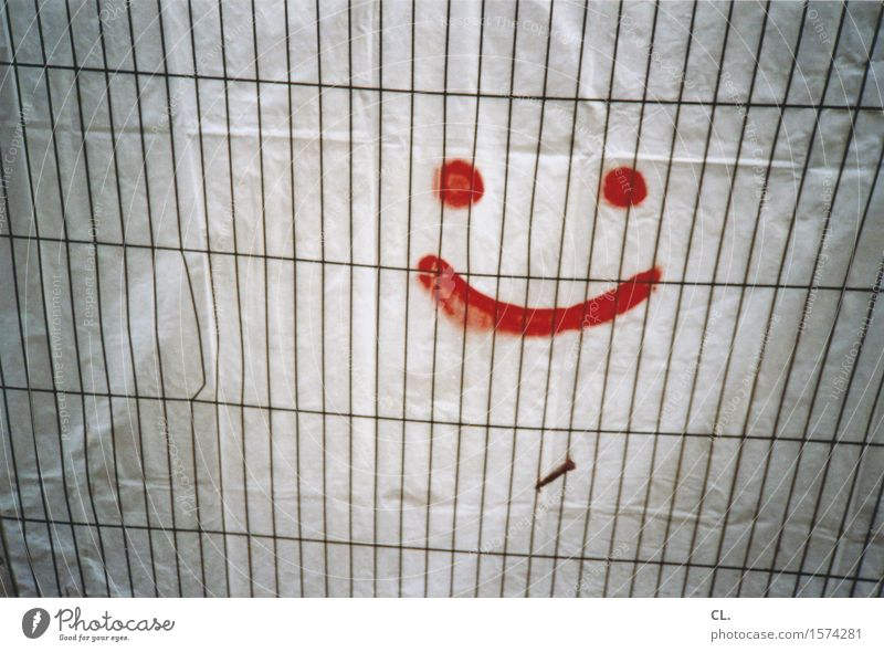 Always in a good mood Construction site Fence Hoarding Smiley Covers (Construction) Sign Graffiti Smiling Laughter Friendliness Happiness Positive Gloomy Gray