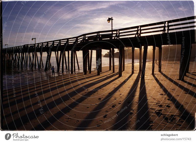 capitola, california Footbridge Jetty Beach Ocean Sunset California North America Shadow