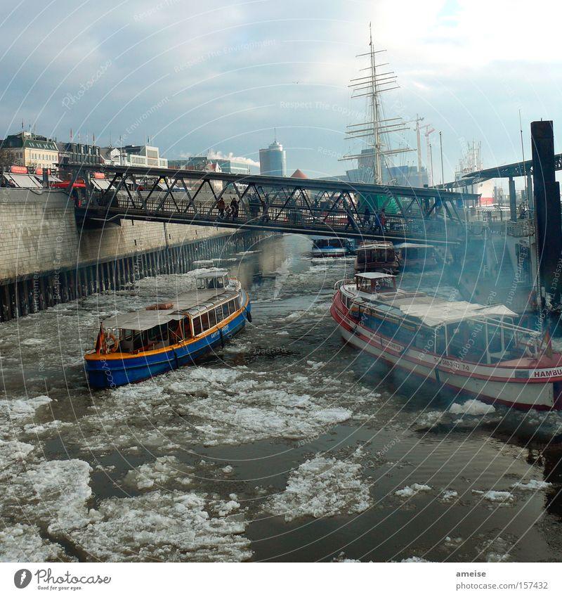 Human being Winter Wall (barrier) Watercraft Fog Hamburg Bridge Harbour Navigation Chaos Blue sky Ice floe Port of Hamburg Landungsbrücken Launch Harbour tour