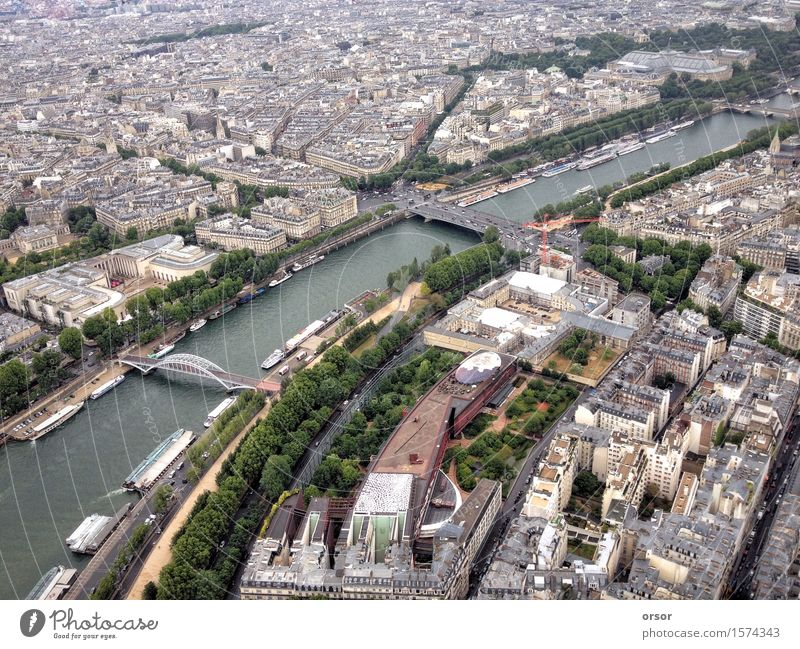 Aerial view of a city in Paris, France Vacation & Travel City Above Europe Target Capital city View from the airplane