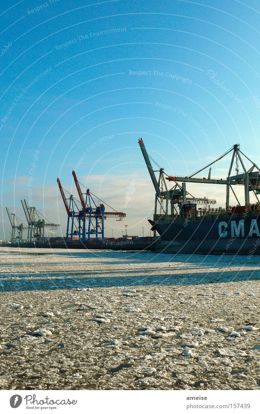 Winter Clouds Cold Snow Ice Watercraft Hamburg Industry Crane Harbour Working man Elbe Blue sky Dock Ice floe Dockside crane