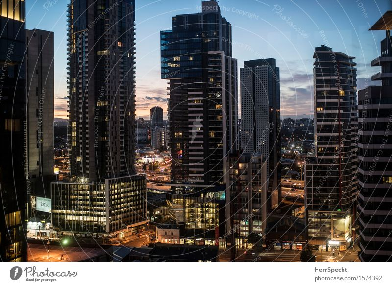 City Architecture Building Flat (apartment) High-rise Tall Tower Skyline Downtown Tower block Sharp-edged Australia Gigantic Sea of light Melbourne