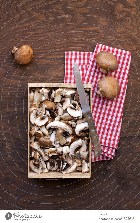 jeschnibbelte mushrooms III Food Button mushroom Nutrition Organic produce Vegetarian diet Vegan diet Knives Fresh Healthy Cheap Delicious Brown To enjoy Napkin