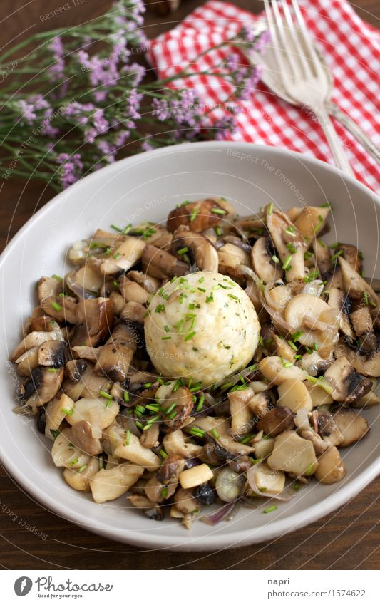 mushroom ragout Food Button mushroom Oyster mushroom Mushroom Chives Shallot Dumpling Nutrition Organic produce Vegetarian diet Vegan diet Plate Cutlery Healthy