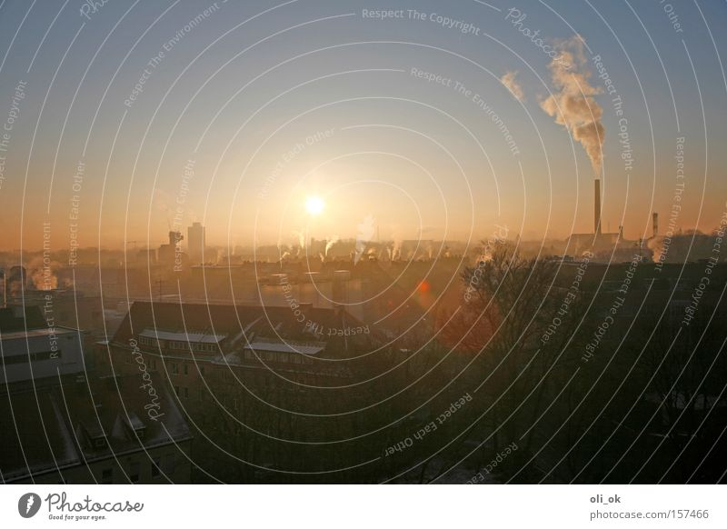 City Sun Winter Cold Environment Fog Tall Climate Environmental protection Exhaust gas Chimney Climate change Carbon dioxide Smog Winter mood Ozone
