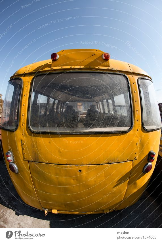 yellow.sub.marine Transport Means of transport Public transit Rush hour Motoring Bus Vintage car Blue Yellow Red Rear light Window Parking Colour photo